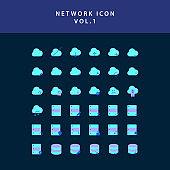 Cloud computing network  flat style design icon set vol1