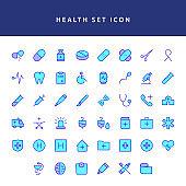 healt icon set filled outline set