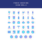 food cooking icon set filled outline set vol 3