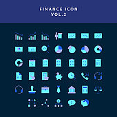 Business and finance icon  flat style design set vol 2
