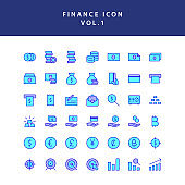 Business and finance icon filled outline set vol 1