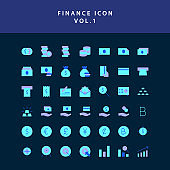 Business and finance icon flat style design set vol 1