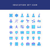 education filled outline icon set