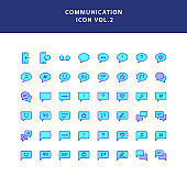 communication filled outline icon set