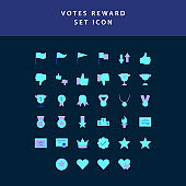 reward and votes  flat style design icon set
