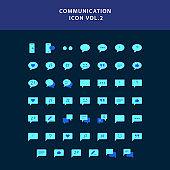 communication flat style design icon set
