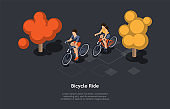 Conceptual Illustration. Vector Isometric Composition, Cartoon 3d Style. Bicycle Ride Ideas. Two People Riding Together. Forest Or Park Background, Text. Active Sport Kind. Male And Female Characters