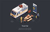 Travel Car Rental Concept Design. Isometric Composition, Cartoon 3D Style. Vector Illustration With Characters. Man With Child Walking To Female Worker. Big Van, Table, Suitcases And Phone With App