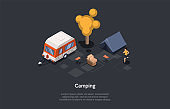 Camping In Woods Concept Design. Isometric Composition, Cartoon 3D Style. Vector Illustration With Character. Woman Jogging. Forest, Picnic Basket, Tent, Van. Alone Active Ecological Recreation Ideas