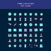 time location  flat style design icon set