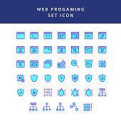 web programing filled outline icon set