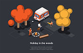 Isometric Illustration In Cartoon 3D Style. Vector Composition On Dark Background. Holiday In The Woods Concept. Different People Spending Time In Forest Or Park. Trees, Bonfire, Van, Three Characters