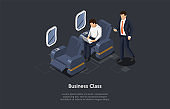 Isometric Illustration In Cartoon 3D Style. Vector Composition On Dark Background. Business Class Airplane Trip Concept. Plane Inside, Two Characters. Passengers Wearing Business Suits. Cosy Chairs