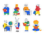 Animals at school. Cartoon creatures reading books. Characters study. Hare carrying textbooks. Lion or fox enjoying of literature. Raccoon and koala sitting at desks. Vector pupils set