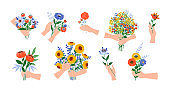 Hands with flowers. Cartoon blooming bouquets. Arms hold garden or field blossoming plants. Give and take floral bunches, holiday presents. Botanical decorative elements, vector set