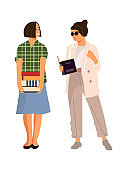 Reading people. Cartoon students with books. Women carry stacks of textbooks. Isolated female characters read in library. Clever girls choose literature in bookstore. Vector education