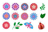 Floral set with colorful flowers, leaves, insects. Spring and summer concept.