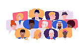 Communication concept. Social media and chat talk with cartoon people avatars. Human faces in speech bubbles. Friendly dialog or group discussion. Global connection, vector illustration