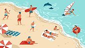 People on summer beach. Men and women rest on seashore. Happy persons sunbathing or surfing. Boys play with ball. Girl builds sand castle. Outdoor activities at sea. Vector illustration
