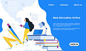 Online training landing page. Education concept. Woman reading books. Internet service for studying, web courses promotion. Website interface design with buttons. Vector UI template