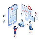 Social networking. Group chatting isometric concept. People writing messages. Man and women holding smartphones or laptops. Online collective communication. Vector mobile application