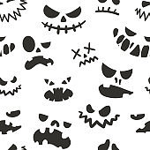 Jack face pattern. Seamless Halloween texture of scary silhouette symbol with spooky head and angry emotions. Black and white holiday background template. Vector autumn celebration print