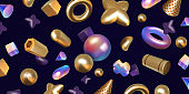 Realistic abstract background. 3D render with holographic and metallic shapes. Trendy art iridescent elements. Geometric forms with color gradient. Vector golden and rainbow figures