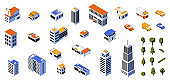 Isometric city kit. 3D buildings low poly constructor with cars and modern architecture. Business and residential houses. Stores or industrial factories. Vector cityscape elements set