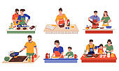 People cooking in kitchen. Couples and families with children preparing food. Characters cutting vegetables and frying meat in pans. Men and women spend time together. Vector routine
