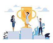 Business success. People standing on winner stepped pedestal. Leadership concept. Characters achieve victory in competition. Workers with golden cup. Vector rewarding office employees