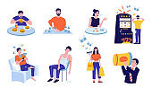 Addictions. Cartoon people with harmful habits. Persons addicted to drugs and food or drinks, electronic devices and network. Characters wasting money on gambling and shopping, vector set
