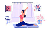 Yoga online. Cartoon girl doing sport exercises with video instructions. Young woman in asana pose watching trainer live stream. Home workout concept. Active lifestyle, vector illustration