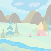 Outdoor summer camp background with a tent and a fire. Adventure time. In pastel colors