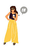 Woman with smartphone. Cartoon female standing and holding device. Trendy girl with phone. Cute person walking and online chatting. Vector character in casual clothing and speech bubble