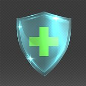 Shield with cross. Realistic 3D glass armor. Medical protective symbol, health care badge on transparent background. Decorative logo mockup for insurance and pharmacy. Vector guard sign