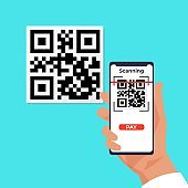 QR wireless payment. Cartoon hand holding smartphones and scanning barcode. Mobile application for transferring money. Person pays by Quick Response Code. Vector contactless transaction