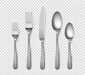 Realistic cutlery. 3D forks and knives or spoons. Isolated metal objects for table setting on transparent background. Top view of silverware set. Vector flatware from stainless steel
