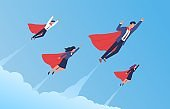 Super businessman team. Flying men and women in flowing capes and suits, brave strong professionals group together moving up, successful startup, teamwork process. Vector cartoon concept
