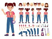 Child constructor. Happy girl with additional body parts and accessories, kid emotions and hairstyles, new poses, easy elements setting, collection for animation vector cartoon isolated set