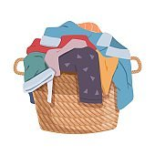 Dirty clothes. Apparel heap with stains in basket, different soiled smelly pile of fabric old shorts, cotton t-shirts and socks, laundry vector cartoon isolated colorful concept