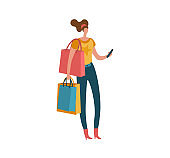 Shopping woman. Beautiful fashion buyer with shopping bags and smartphone, female shopaholic customer buying gifts and presents modern isolated illustration. Vector purchase concept