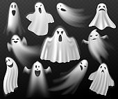 Halloween ghosts. Scary creature, white curtain spooks, realistic phantoms, dead souls characters in fabric capes all saints day. Mystical death shadows with different emotions vector set