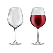 Wine glass realistic. 3d empty glassware and with half filled red wine. Alcoholic drink in elegant transparent wineglass. Grape beverage winery collection vector isolated illustration