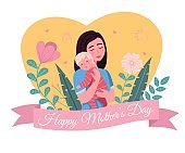 Happy mother day. Cartoon postcard. Loving mom holding child, woman hugs with baby, parent with newborn son or daughter, flowers decor. Vector greeting card isolated concept