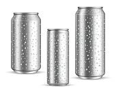 Cold cans realistic. Tin or silver metal wet blank energy drink and beer cans with droplets, water or juice drink packaging 300 330 500 ml, marketing branding mockup. Vector 3d isolated set
