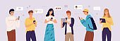 People chatting online. Young women and men exchange messages on smartphones and tablets. Friends social media communication, conversation sending messages vector cartoon concept