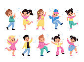 Kids dancing. Children characters dance and sing, little happy girls and boys listen melodies, young music lovers, notes in air. Leisure time in school vector cartoon isolated set