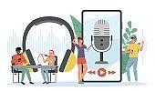 Podcast listening. Happy young people listen online radio, recording equipment, man and woman talk live, headphones and microphones in studio, webinar streaming smartphone app vector concept