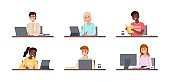 People sitting with laptops. Students use gadgets in training, happy young boys and girls workplace with notebooks and tablets. Online work and education. Vector cartoon set