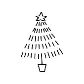 Single hand drawn Christmas tree. Vector illustration in doodles style. Isolated on white background.